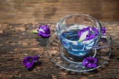 Flower hot drinking tea refresh Thai herb drink on wood Stock Photo