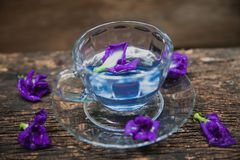 Flower hot drinking tea refresh Thai herb drink on wood Royalty Free Stock Photos
