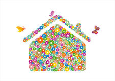Flower and house. Colorful house in a white background Stock Photos