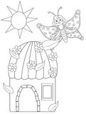 A flower house and a butterfly coloring page Royalty Free Stock Photo