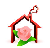 Flower house illustration design. Over a white background Stock Photos