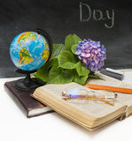 Flower hydrangea and school subjects. Stock Photo