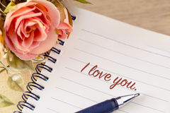flower with I Love You greeting on note vintage style Stock Images