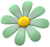 Flower icon 3d. Abstract green flower icon 3d Stock Illustration