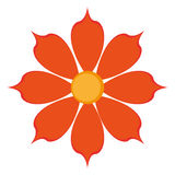 Flower icon. Flat design orange eight petal flower icon  illustration Stock Photo