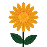 Flower icon. Flat design of yellow petal flower with green stem and leaves icon  illustration Stock Images