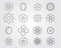 Flower icon line set Stock Photo