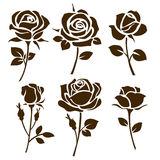 Flower icon. Set of decorative rose silhouettes stock illustration