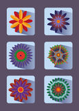 Flower icon set. Stock Image