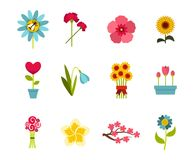 Flower icon set, flat style. Flower icon set. Flat set of flower vector icons for web design isolated on white background Royalty Free Stock Image