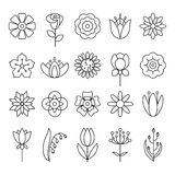 Flower Icon Set Stock Images