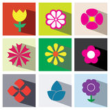 Flower icon set illustration eps10 Stock Photography