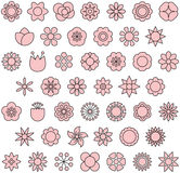 Flower icon set. Pink and white flower icon set on white Stock Photos