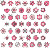Flower icon set. Set of red and pink flower icons on white Royalty Free Stock Image