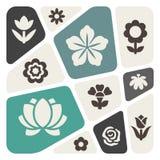 Flower icon set Stock Photo