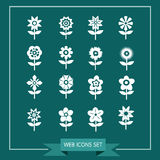 Flower Icon Set for website Royalty Free Stock Photo