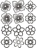 Flower icons. 12 icons of flowers. black silhouettes on a white Royalty Free Stock Photo
