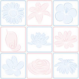 Flower icons. The set of flower icons Stock Photography
