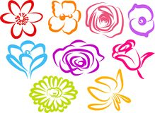 Flower Icons. Simple line art floral objects isolated on white Royalty Free Stock Photography