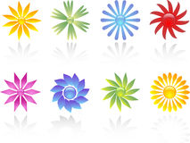 Flower icons. Various different coloured flower icons Stock Photo