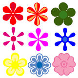 Flower icons. Various colors of flower icons on white background Royalty Free Stock Image
