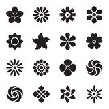 Flower icons. Black icons isolated on a white background. Vector illustration Stock Images