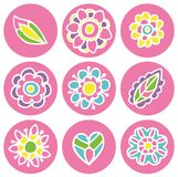 Flower icons in circle pastel color Royalty Free Stock Photos