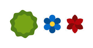 Flower icons colorful plants nature flat vector. Royalty Free Stock Photography
