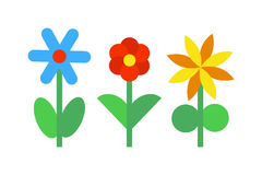 Flower icons colorful plants nature flat vector. Stock Photography