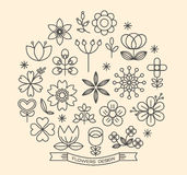 Flower icons outline style vector Royalty Free Stock Image