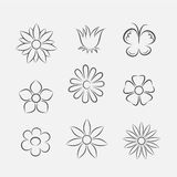 Flower Icons for Pattern Stock Image
