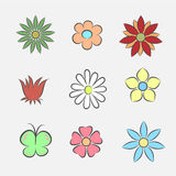 Flower Icons for Pattern Stock Photography