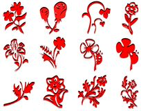 Flower icons red Royalty Free Stock Image
