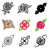 Flower icons set. Red flower icons vector set vector illustration