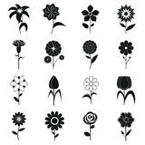 Flower icons set, black simple style Stock Photography