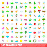 100 flower icons set, cartoon style. 100 flower icons set in cartoon style for any design vector illustration Stock Photo