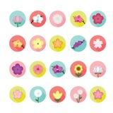 Flower icons set. Stock Photos