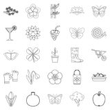 Flower icons set, outline style. Flower icons set. Outline set of 25 flower vector icons for web isolated on white background Royalty Free Stock Photography