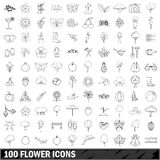 100 flower icons set, outline style Stock Photography