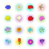 Flower icons set, pop-art style Stock Photos