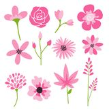 Flower icons set, vector collection of floral elements. stock illustration
