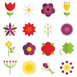 Flower icons. Set of 16 vector flat floral icons Stock Images
