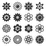 Flower Icons Set on White Background. Vector stock illustration