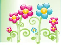 Flower illustration. Pink and blue flower illustration Stock Photography