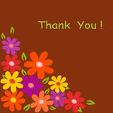 Flower Illustration on Brown Background. Yellow, purple, orange and red flowers on brown background, thank you card, flora, nature, flower arrangement , green Royalty Free Stock Image