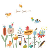 Flower illustration cute flowers and birds Royalty Free Stock Photography