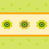 Flower  Illustration, Flower Card. Green and yellow flower illustration on pink and green background, yellow hearts, flora, nature, plants, flower card Royalty Free Stock Image