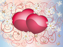 Flower illustration with hearts Royalty Free Stock Image