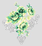 Flower Illustration pattern in simple background. Illustration flower in simple background. Banner, nature.Vintage Baroque Victorian frame border monogram floral royalty free illustration