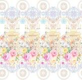 Flower Illustration pattern in simple background. Illustration flower in simple background. Banner, nature.Vintage Baroque Victorian frame border monogram floral royalty free illustration